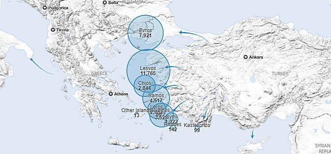 kritikus fÉl Óra: ennyi kellett ahhoz, hogy 13 csónak érkezzen leszboszra KRITIKUS FÉL ÓRA: Ennyi kellett ahhoz, hogy 13 csónak érkezzen Leszboszra greece islands migrants map unhcr