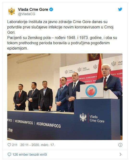 eurÓpa elesett: montenegróban is megjelent a járvány, így már minden európai ország érintett a betegségben EURÓPA ELESETT: Montenegróban is megjelent a járvány, így már minden európai ország érintett a betegségben vlada crne gore