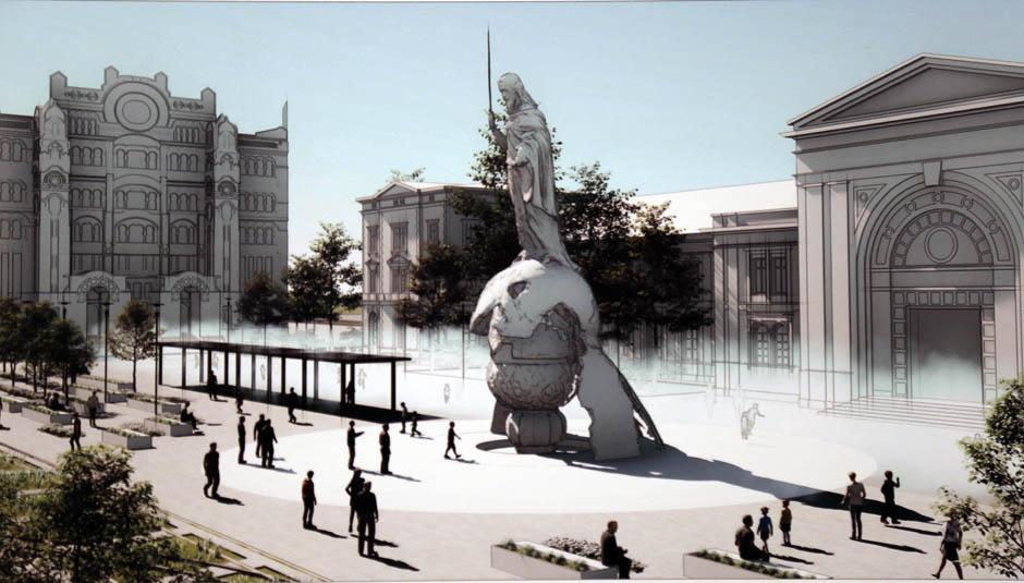 MEGSZOBROSÍTÁS: Grandiózus szobrot emelnek Belgrád központjában MEGSZOBROSÍTÁS: Grandiózus szobrot emelnek Belgrád központjában savski trg maketa 13