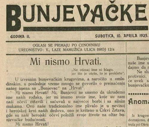 Bunyevác újság: Mi nem vagyunk horvátok! bunyevác BUNYEVÁCOK: Szabadkán hivatalos a bunyevác nyelv, Horvátország tiltakozik bunjevacke 500x425