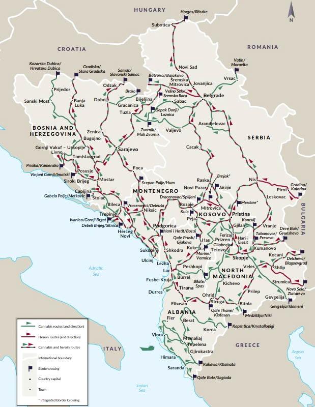 albán DÉLI ÚTVONAL: Az albániai és montenegrói kikötőkön keresztül jut el a latin-amerikai drog Magyarországra terkep drog