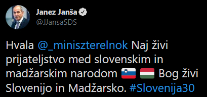 Slovėnija JANŠA: Tegyvuoja slovėnų ir vengrų tautų draugystė, telaimina Dievas Slovėniją ir Vengriją jansa kosonet