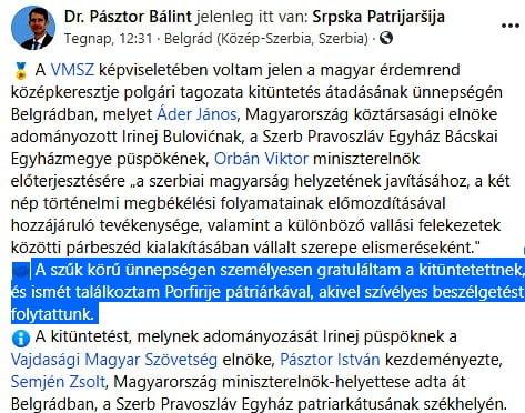 A VÖRÖS PÜSPÖK: Magyar állami kitüntetést kapott a bácskai pravoszláv püspök, aki a szerb egyház nacionalista vonulatához tartozik acdc pasztor